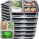 Contenitori per Alimenti Bento Box di Prep Naturals   Set di 15 Scatole Lunch Box con Coperchio e 3 Scomparti   Scatola in Plastica Robusta senza BPA, Adatta a Microonde, Congelatore e Lavastoviglie