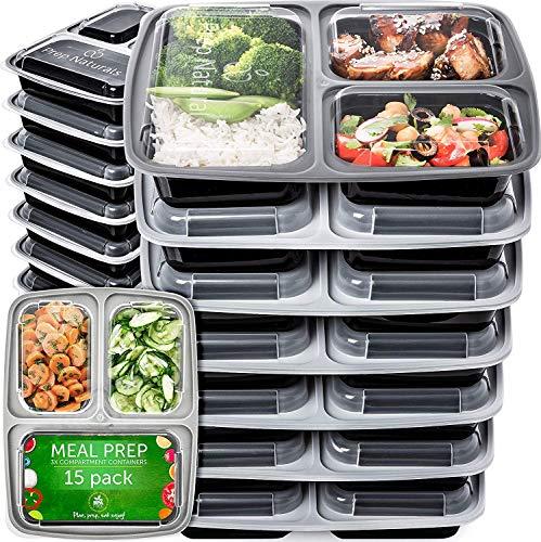 Contenitori per Alimenti Bento Box di Prep Naturals | Set di 15 Scatole Lunch Box con Coperchio e 3 Scomparti | Scatola in...