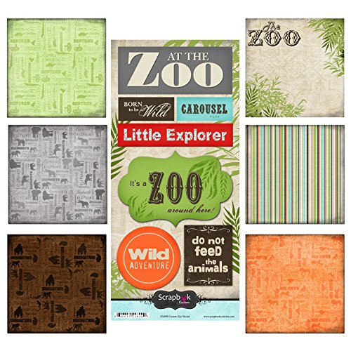 Scrapbook Customs 17570 Mottoparty Paper & Aufkleber Scrapbook Kit, Zoo