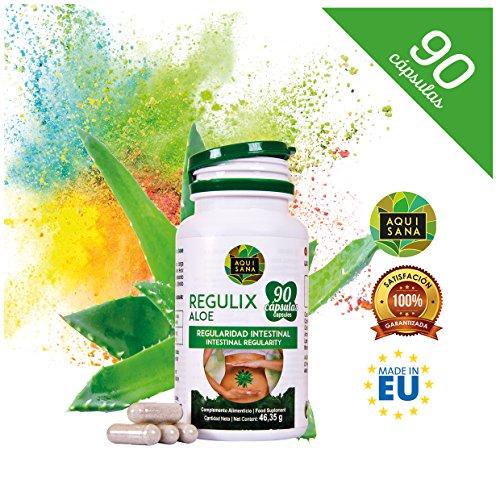 61%2BNQrCrUWL - Regulix Aloe -Aquisana   Ayuda a favorecer una buena digestión   Pérdida de Peso  - Libre de alérgenos- 90 Cápsulas