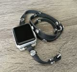 Bracciale in pelle nera per Apple Watch Series Dimensioni 3(38mm) Handmade multi Wrap Band con argento rivetti in metallo di orologi di moda intelligente Wristband cinturino 12,7cm Dimensioni