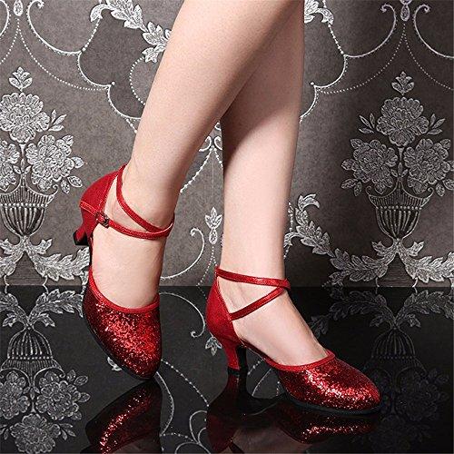 SQIAO-X- Scarpe Da Ballo, Antiscivolo In Gomma A Bassa Testa Tonda Con Finitura Opaca In Pelle Impermeabile Di Usura Di Ballo Latino Square Dance Professional Scarpe Da Ballo Il rosso
