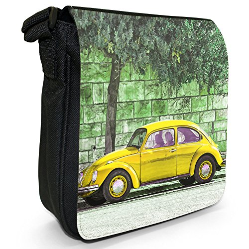 Old Classic, auto-Borsa a tracolla in tela, piccola, colore: nero, taglia: S Old Classic Yellow Beetle Car