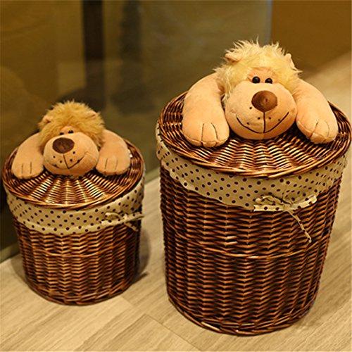 SHOUNALAIN Runder Weidenkorb Veranstalter für Spielzeug Kleidung Small-Large - Wicker-Storage-Körbe Korbwaren Wäschekorb mit Hund Deckel Weiß Klein Schwarz Wicker Storage Körbe