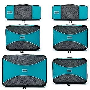 PRO Packing Cubes   Packwürfel im 6-teiligen Sparset   Taschen mit 30 % Platzeinsparung   Ultra-leichte Gepäckverstauer   Ideal für Seesäcke, Handgepäck und Rucksäcke (Aqua Blue)