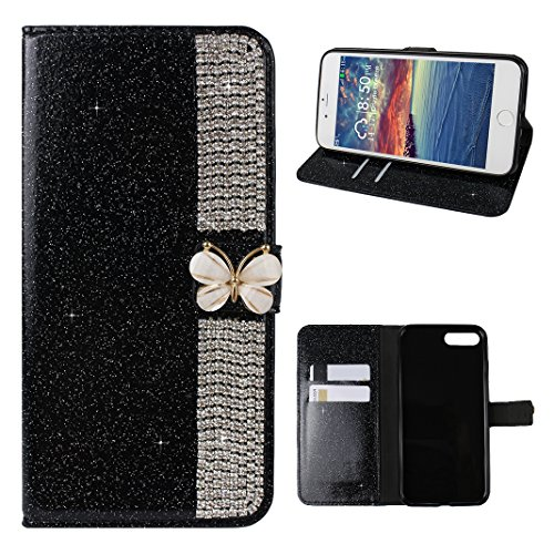 Schutzhülle iPhone 8 Plus Leder, Hülle für iPhone 7 Plus Bling Glitzer, iPhone 8 Plus Bumper, [Voll frontal Dreieck Diamant Design] Moon mood® Glitter Case Skin Ledertasche für Apple iPhone 7 Plus/8 P A Schwarz