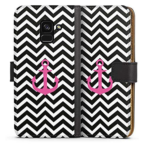 DeinDesign Tasche Leder Flip Case Hülle kompatibel mit Samsung Galaxy A8 Duos 2018 Zickzack Maritim...