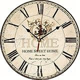CUIGU grande orologio da parete vintage rustico in legno da cucina antico shabby chic retro Home–vintage Flower