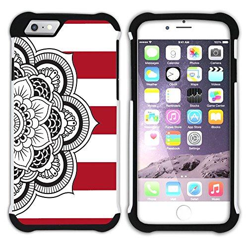 Graphic4You Mandala Blume Linien Muster (Wasserblau) Hart + Weiche Kratzfeste Hülle Case Schale Tasche Schutzhülle für Apple iPhone 6 Plus / 6S Plus Rot