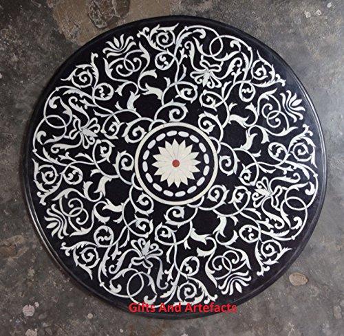 Inlay-top-couchtisch (Luxus Masterpiece 91,4cm schwarz rund Marmor Royal Couchtisch Top Design Inlay)