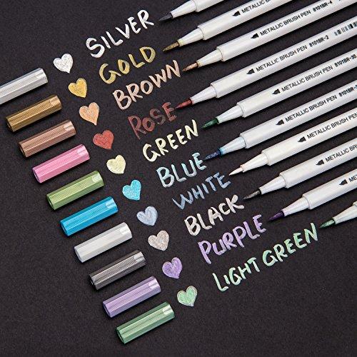 Bianyo Metallic Brush Pens - farbige Kalligraphie-Stifte für Scrapbooking, Zeichnen, Schreiben auf Papier, Stein, Glas, Keramik, 10Farben