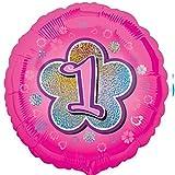 Folienballon Zahl 1 Geburtstag Mädchen rosa Blume mit Ballongas gefüllt Holographic 45cm