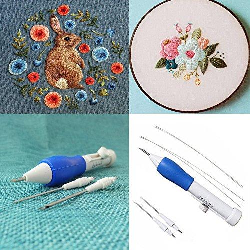 Luccase Blau Stickerei Stift Nadel Kit Kunststoff und Kieselgel Stickfeder Magische Stickerei Stift Stickerei Nadel Weben Werkzeug Phantasie Werkzeuge -