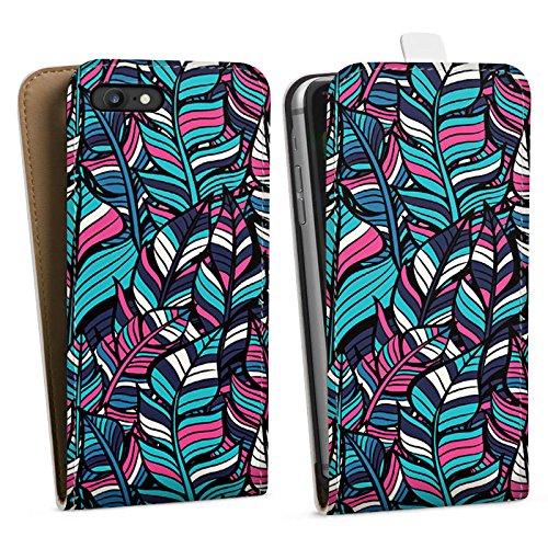 Apple iPhone 6 Tasche Hülle Flip Case Blätter Blumen Muster Downflip Tasche weiß