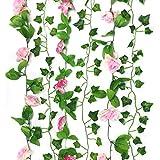 PietyDeko 6 Stück Dekorative Kunst Blume Plastikblumen Rosen mit Efeu Künstlich Girlande Blumenstrauß Efeugirlande Hochzeit, Hause und Büro - Rosa