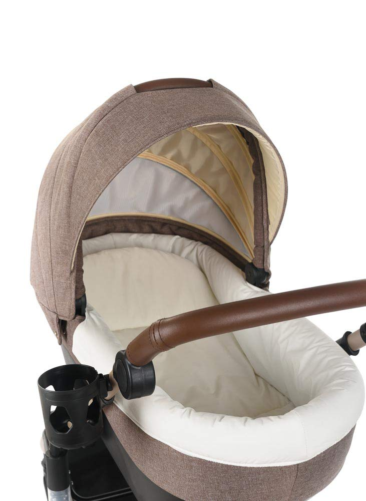 Roma Moda Pram, Includes Carry Cot, Rain Cover, Cup Holder and Bag - Tweed Roma Suitable from newborn - 15kg - Raised backrest in the carry cot Lightweight aluminium frame - All round suspension - Easy fold All terrain tyres (rear air tyres and front foam tyres) Large hood with viewing window 3