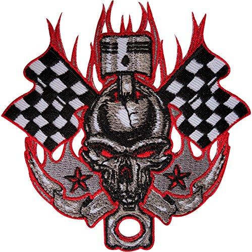 Calavera insignia parche bordado hierro Sew en F1moto moto Racing bandera