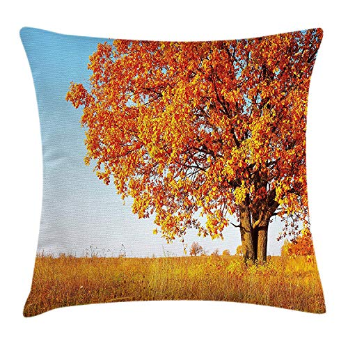 Fall Decor Throw Pillow Cushion Cover, Lonely Ancient Oak Tree Grass Bushes Field Serene Rural Scenery, Decorative Square Accent Pillow Case, 18 X 18 inches, Orange Yellow Light Blue -