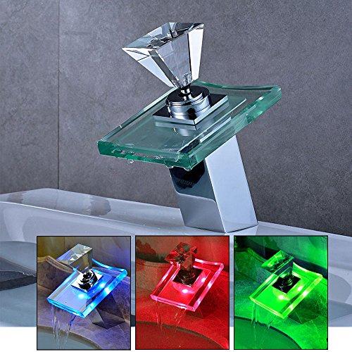 YiWon LED RGB Glas Wasserhahn Waschtisch Mischbatterie Wasserfall Wasserkran Armatur 3 Farbewechsel für Bad/Badezimmer/Küchen -