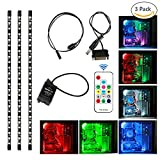 Tingkam® 3Pcs LED-PC Computer LED-Stripes, LED Streifen 18w 40cm RGB 5050 SMD LED Strips Full Kit 300 Arten Traumfarben mit 14 Tasten Fernbedienung für Desktop PC Computer Mid Tower Gehäuse