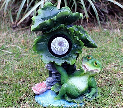CASEY-L Garten Skulptur Licht, Outdoor Solar Lampe Glas Stahl Frosch Ornamente Garten Kleine Villa Landschaft Dekoration Handwerk E - Stahl Outdoor-lampe