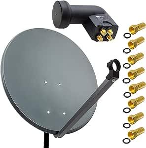 Premiumx 80cm Alu Sat Anlage Anthrazit Elektronik