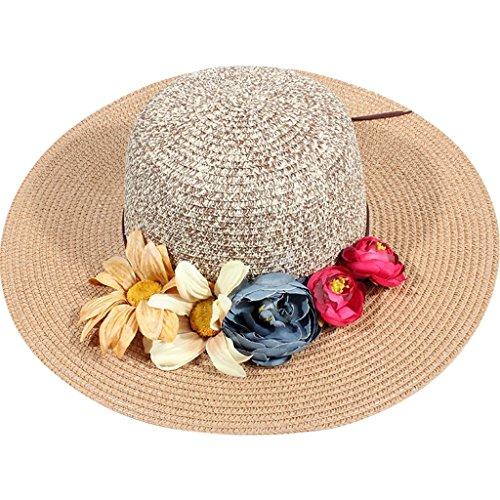 chapeau de soleil Beach Beach Chapeau de soleil chaude foldable femme Vested Breathable Beach Cap ( Couleur : Rose ) Kaki