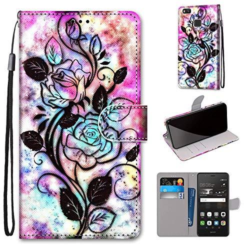 Miagon Flip PU Leder Schutzhülle für Huawei P9 Lite,Bunt Muster Hülle Brieftasche Case Cover Ständer mit Kartenfächer Trageschlaufe,Blume Blatt