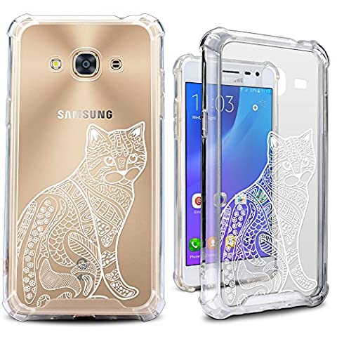 Galaxy J3 2016 Case, MISS ARTS White Floral Cat Shock Absorption TPU Bumper Cushion + Scratch Resistant Clear Protective Cover for Samsung Galaxy J3 2016 - Cat