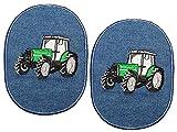 Unbekannt 2 Stück - ovaler Flicken / Bügelbild Jeans - Traktor - 8,5 cm * 11,5 cm - oval - Bügelbilder - Aufnäher Aufnähen und Bügeln / Applikation für Jungen Kinder FA..