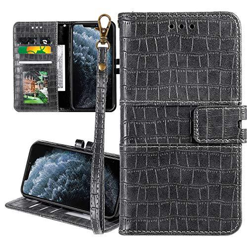 """Nadoli Ledertasche für iPhone 11 Pro Max 6.5"""",Krokodil Muster Luxus Männer Frauen Pu Standfunktion Flip Handy Schutzhülle Brieftasche mit Kartenhalter und Handschlaufe,Grau"""