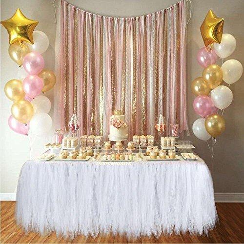 Tisch Rock Tischröcke Party Dekorationen Geeignet für Hochzeit Geburtstagsfeier Festivals Dekor Dekoration Baby Mädchen-Kostenlos Geschenk Papierschnur Blumen (Weiß) (Weißes Tüll Blumen Dekoration)