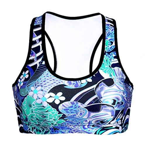 WKAIJCC Femme Sport Veste Sous-vêtements Numérique Impression Yoga Saisons Course Sans Anneau En Acier Confortable D