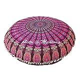 maniona 91,4cm lila Mandala Barmeri groß Boden Kissenbezug Kissen Meditation Platz Ottoman Überwurf Cover Hippie Deko Reißverschluss Bohemian Pouf
