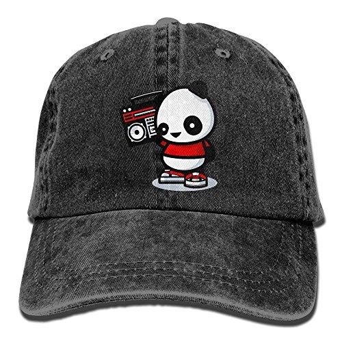 fboylovefor Unisex Caps Trucker Hats Panda Listening to The Radio Cowboy Baseball Hats Radio-cap-baseball-cap