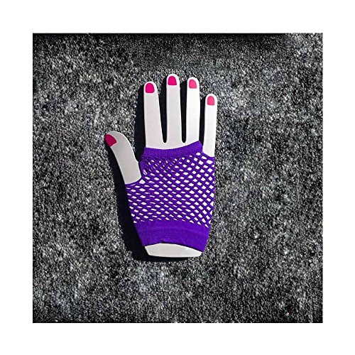 2 Paare Damen Fingerless Fishnet Mesh Handschuhe von MAXGOODS, Frauen Handgelenk Länge, Lila