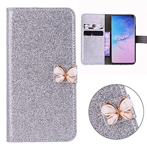 Xifanzi Glitzer PU Ledertasche für Samsung Galaxy S10 Glänzende Einfarbig Lederhülle Luxus Flip Cover Tasche Folio mit Handyhülle Kartenfächern Standfunktion - Silber