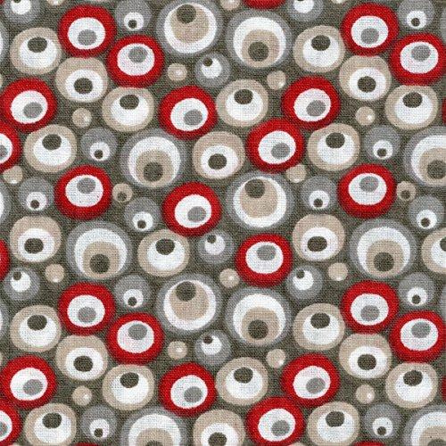 Baumwollstoff | Lava - Taupe-grau, grau, beige, rot und weiß | 100% Baumwolle | Stoffbreite: 155 cm (1 meter) (Stoff Lava)