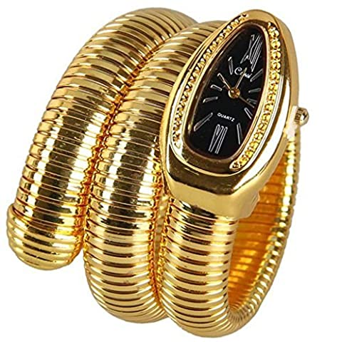 fanmis Serpent Or Cadran Noir Forme Pop Double Wrap Fashion Mesdames Bracelet Poignet Montre bracelet