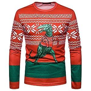 Togelei Weihnachten tops Männer Herbst Winter Weihnachten Weihnachten PrintingTop Männer langärmelige T-Shirt Bluse O-Ausschnitt Langarm Casual Sweatshirt Dinosaurier Muster Mode Slim fit