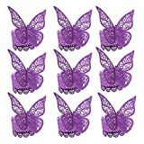 BESTOYARD Serviettenring Schmetterling Papier Lila Tischdekoration Hochzeit 100 Stücke