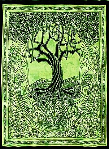 Grün & Schwarz Keltischer Baum Tagesdecke Bett Sofa Überwurf Spread Tapisserie Wohnheim Art Wand