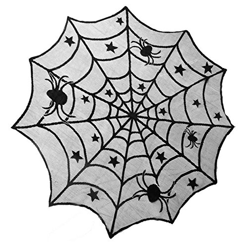 vlovelife 101,6 cm Rund Polyester Spitze Mitteldecke, Schwarz Spider Web Halloween Tischdecke Tisch Overlay - Perfekt für Halloween, Dinner Party und Scary Movie Nights 40'' Round Schwarz