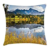 Free-shipping Nature Decor Throw Pillow Cushion Cover, Pastoral Countryside Scenery by the Lake with Reflections Alpine Meadow Picture, Decorative Square Accent Pillow Case,Multi 18X18 inches