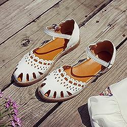 Damen Leder Schuhe Sommer Sandale Highheels, 35 weiß