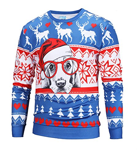 ihnachten Langarmshirt Sweatshirt Niedlich Elche 3D Weihnachts Muster Drucken T-Shirt Blusen Herbst Winter Warme Rundhals Pullover Sweatshirt Tops Brillen-Hund XL (Elch-brille)