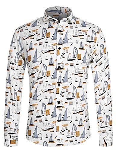 Herren Hemd Langarm Shirt Freizeit Blumenhemd Party Regular fit Hemd für Männer 1035 Weiß L (Langarm-shirt Florale Männer)
