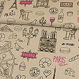 Dekostoff I Love Paris hellbeige Canvasstoff - Preis gilt