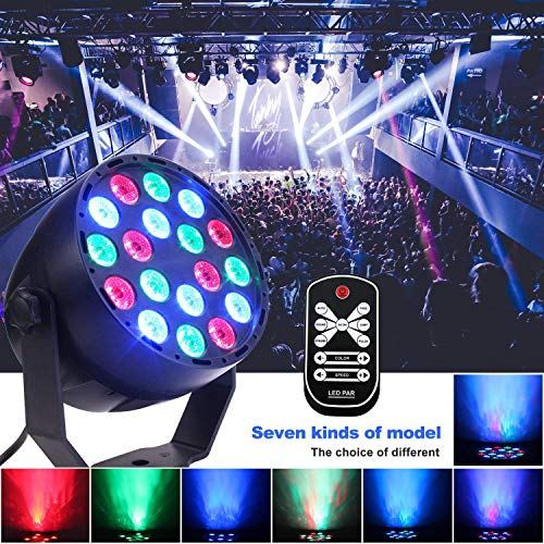 Bühnenlicht DJ Licht 18 LED-Lichter RGB Dsico Par Lampe mit Fernbedienung 7 Modi Lichteffekt DMX 512 Mini Projektor Beleuchtung 100-240V für Party Bühne KTV Bar Club -