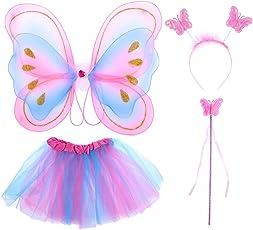 TOYMYTOY 4pcs Girls Fairy Princess Costume Set Butterfly Wing Wand Headband Tutu Skirt Party Costume
